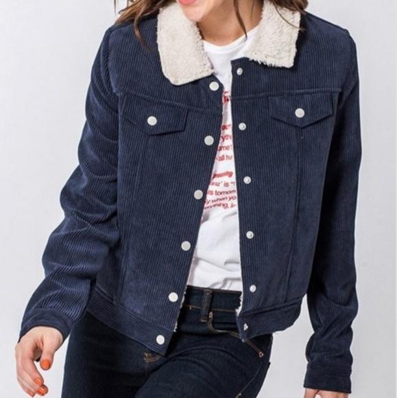 HYFVE Jackets & Blazers - Corduroy Shearling Lined Cropped Jacket